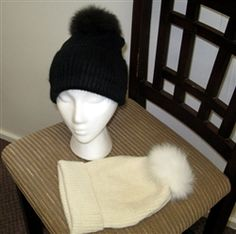Snow Bunny Hat -    Gorgeous 100% baby alpaca knit hat topped with a heavenly 100% baby alpaca fur pom-pom! Fashion and warmth has never been more fun! #alpaca #hat #crystallakealpacaboutique