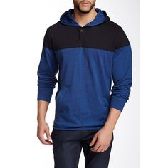 Burnside Colorblock Henley Hoodie (£14) ❤ liked on Polyvore featuring men's fashion, men's clothing, men's hoodies, blue, mens blue hoodies, mens cotton hoodies, mens hoodies and mens sweatshirts and hoodies