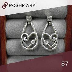 Drop heart rhinestone earrings Not signed Jewelry Earrings