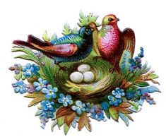 Victorian Clip Art - Scrap Birds with Nests & Flowers - The Graphics Fairy