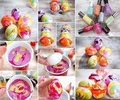 Nagellak in een bakje doen en zo eieren verven. Ook leuk met bijvoorbeeld terracotta plantenpotjes.