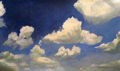 Blue skies, oil paint on canvas.