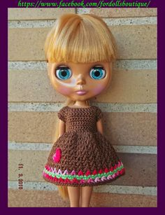Blythe Dolls, Doll Clothes, Crochet Hats, Disney Princess, Etsy, Dresses, Hair, Ideas, Fashion