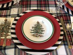 Spode Christmas Tree, Christmas Tablescapes, Christmas Decorations, Table Decorations, Stewart Tartan, Holiday Decorating, Decorative Plates, Black And White, Home Decor
