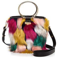 Milly Drawstring Faux-Fur Bucket Bag (19.220 RUB) found on Polyvore featuring women's fashion, bags, handbags, shoulder bags, handbag purse, shoulder handbags, milly handbags, drawstring handbags and faux fur purse
