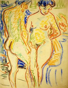 """""""Couple"""" (1908) - Ernst Ludwig Kirchner.  Style: Expressionism. Gallery: Brücke-Museum, Berlin, Germany"""