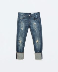 CALÇAS DE GANGA boy friend CIGARETTE SELVEDGE da Zara
