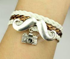 mustache bracelet antique silvery bracelet by handworld, $3.29