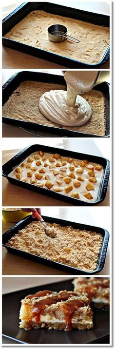 Caramel Apple Cheesecake Cookie Bars Recipe ~ it all starts with a lovely cookie-like layer on the bottom  then it continues with a creamy and delicious cream cheese filling with chunks of delicious cinnamony apple scattered here and there  then there's a crumbly and crunchy topping  and finally – a good portion of luscious caramel on top..