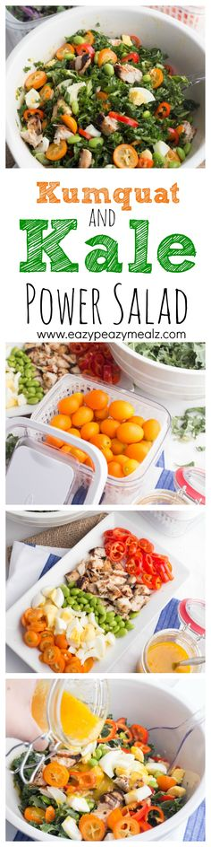 Kumquat and Kale Power Salad is a protein packed power salad that not only tastes amazing, but gives you the energy and fuel needed to power through the day. #oxogreensaver #ad - Eazy Peazy Mealz