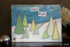 Holiday Original Art Painting: 9x12 Silent Night, Christmas Tree painting, tree collage, Mixed Media Art, Tree Art, blue, green