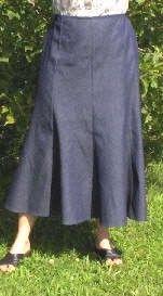 Long 8 panel denim skirt
