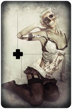 """Zombie Burlesque"""" is a series of macabre pin-up created ??by the French artist Angel Roy"""
