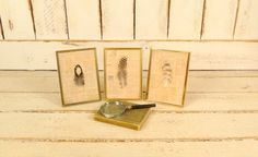 Handmade vintage framed feathers/bird feather pictures/set of 3