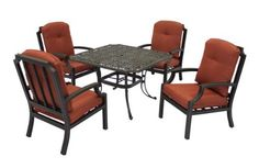 """Patio Furniture Aluminum Weave 4PC lounge set by 101patiofurniture.com. $1169.00. Product Material: Cast Aluminum. Patio Furniture Aluminum Weave 4PC lounge set. Color: Antique Bronze. Set includes:  (1) 45"""" square table  (4) lounge chair with cushion: 31""""W x 25""""D x 40""""H"""