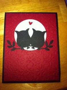 Owl card with the Stampin Up owl punch Tarjetas Stampin Up, Owl Punch Cards, Karten Diy, Owl Card, Bird Cards, Stamping Up Cards, Love Cards, Valentine Day Cards, Scrapbook Cards
