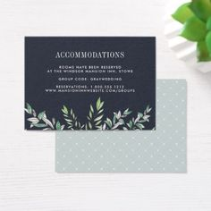 Winter Sage   Wedding Hotel Accommodation Card - watercolor gifts style unique ideas diy