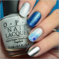 mix & match manicure with blue flower water decal + China Glaze Dorothy Who?