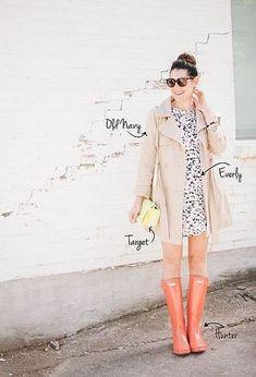 オレンジの明るいカラーで憂鬱な雨の日を吹き飛ばそう♡かわいいレインシューズのコーデ☆スタイル・ファッションの参考に♡