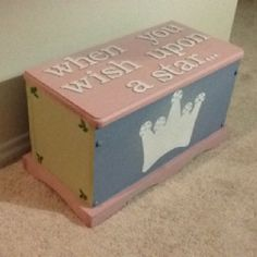 A dress up trunk for my niece. I painted it and got glitter letters and then spray the trunk with glitter spray paint. I also lined the inside with zebra material.
