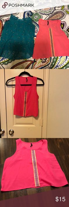 2For$10 Spring/Summer Sheer Tops 2For $10  Simple pink top with cute design in the middle. Lightweight and soft.  Cute blue sheer spaghetti strap top. Great for Spring and Summer. Tag says small. I'm a size 1-2 for reference. Tops Tank Tops
