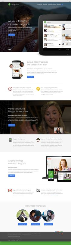 Google Hangouts by Leigh Whipday, via Behance... Everything about the redesign of the website of the most popular videoconference system in the world.