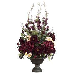 NearlyNatural Artichoke and Hydrangea Silk Flower Arrangement   Wayfair