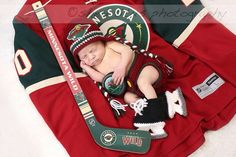 Baby Crochet Hockey Earflap Hat and Skates in Minnesota Wild inspired, Made to Order Hockey Pictures, Boy Pictures, Newborn Pictures, Baby Photos, Hockey Girlfriend, Hockey Wife, Hockey Baby, Wild Hockey, Minnesota Wild