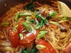 Lo Mein Noodles with Baked #Salmon-Smoked Sardines on http://asianinamericamag.com