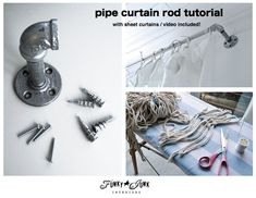 Super cool pipe curtain rods for sheet curtains for a spare room photo studio... includes video! via http://www.funkyjunkinteriors.net/