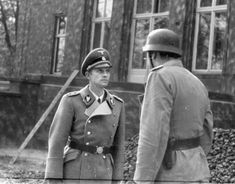 SS General Walter Schellenberg (left) served as chief of the SD Foreign Intelligence Service. Otto Skorzeny is on the right. Walter Schellenberg, Major General, The Third Reich, Security Service, Weird World, World War Two, Warfare, Wwii, Riding Helmets