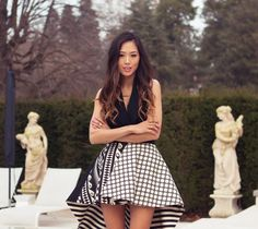 Ombre hair & black and white dress THE PATTERNS. I LOVE THEM.