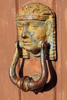 schöne antike Türklopfer, Toskana, Italien, Europa Stockfoto