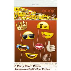 Kit 8 photo booth emoji smiley pour l'anniversaire de votre enfant - Annikids