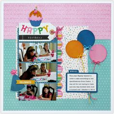 Snippets By Mendi: PageMaps November Sketch~Pebbles Birthday Wishes Layout