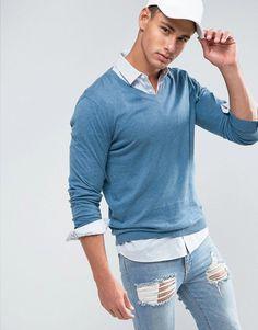 ASOS V-Neck Cotton Sweater in Pale Blue - Blue