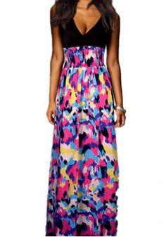 Europe American Fashion Print Dress Fashion Beautiful Hot Deep V-Neck Sleeveless Dress