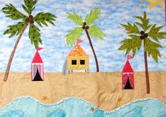 Baby quilt- beach, island-themed, cabanas, surfboard, sea turtle, starfish, palm trees....love her palm trees!