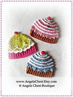 Crochet CUP CAKE Hat PDF Pattern.