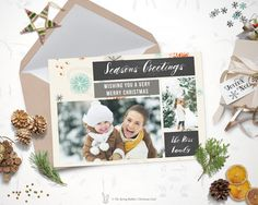 Christmas Photo Card - Holiday Photo Card - 5 x7 - Do it yourself Customizable Printable Christmas Card by TheSpringRabbit on Etsy