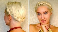 Dutch crown braid tutorial for medium long hair How to do milkmaid braids updo hairstyle, via YouTube.