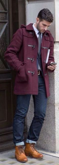 Purple Toggle Coat, Jeans, and Caramel Leather Wingtip Boots. Men's Fall Winter Fashion.