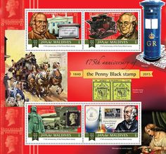 """Post stamp Maldives MLD a anniversary of the Penny Black (Sir Rowland Hill Imperial Airways, Stamp obliterated """"Moon landing"""" in Penny Black, Maldives, Postage Stamps, Moon Landing, Commonwealth, Coins, Anniversary, Collections, The Maldives"""