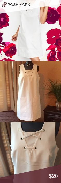 Versatile White Dress WhoWhatWear white dress. Front pockets and cross stitch at the top. The perfect Little White Dress. WhoWhatWear Dresses Midi