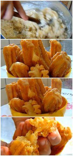 Como fazer um Churros Caseiro Delicioso e super fácil de fazer. #churros #docedeleite #doces #lanches #sobremesas #receita #gastronomia #culinaria #comida #delicia #receitafacil