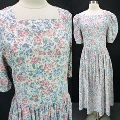 Laura Ashley Vintage 90s Pastel Floral Print Day Dress Puff Sleeves Modest 12/M #LauraAshley #Sheath