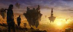 Flying islands Picture  (2d, fantasy, sky, rocks, islands)