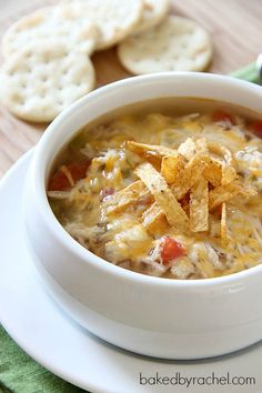 Slow Cooker Chicken Tortilla Soup Recipe. Delicious atop a baked potato or on it's own.