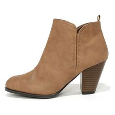 Looking Sharp Taupe High Heel Ankle Boots ($36) ❤ liked on Polyvore featuring shoes, boots, ankle booties, ankle boots, brown, vegan booties, qupid booties, taupe ankle boots, faux-leather boots and brown booties