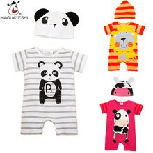 Macacão de bebê Estilo Verão Meninas Do Bebê Roupas de Animais Recém-nascidos Macacões Infantil Ropa Bebes Bebê Conjunto de Roupas de Marca Menino Romper + chapéu(China (Mainland))